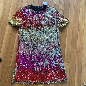Forever 21 OMBRÉ sequin pride sparkle dress L NWT